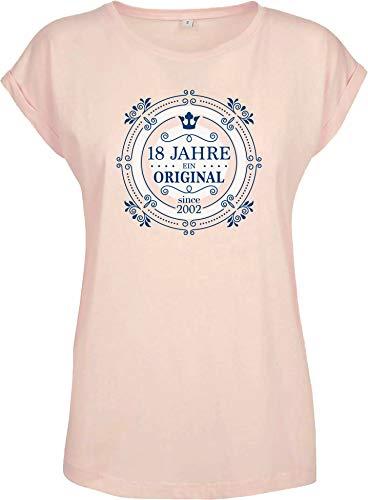 "Shirtzshop - Camiseta de manga corta, diseño con texto en alemán ""18 Jahre ein Orginal"" - Mujer mujer novia niña – 18 años de edad rosa XXL"
