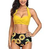 Fauean Conjunto de bikini para mujer, de cintura alta, juego de bikinis push up acolchado traje de baño favorecedor traje de baño de 2 piezas traje de baño de talla grande