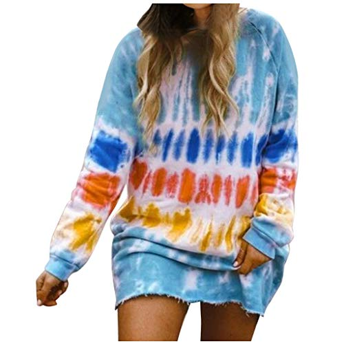 Women's Tie-Dye Sweatshirts Casual Long Sleeve Crewneck Gradient Sweater Dress E-Scenery (3XL, Blue)