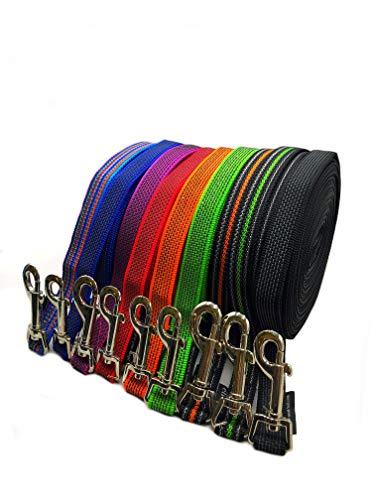 Schleppleine Hundeleine gummiert 1m - 40m / 20mm breit / für mittlere und große Hunde mit/ohne Handschlaufe Fährtenleine/ Übungsleine (8m OHNE Handschlaufe, Rot gummiert)
