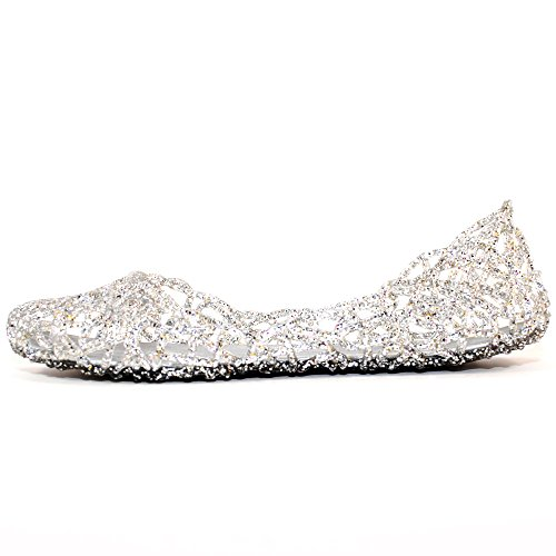TRENDSUP COLLECTION Women's Bird Nest Layered Lines Jelly Flat Sandals (7, Clear)
