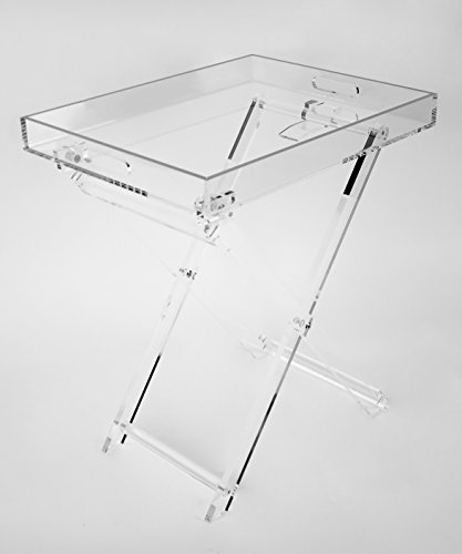 Acrylic Folding Tray Table – Modern Chic Accent Desk - Kitchen and Bar Serving Table - Elegant Clear Design - by Designstyles
