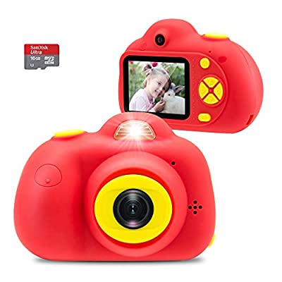 Veroyi Kids Camera with 16GB Micro SD Card 8MP Rechargeable Digital Front and Rear Selfie Camera with 2 Inches Screen Child Camcorder Toys for 4-10 Years Old Boys and Girls (Red) from Veroyi