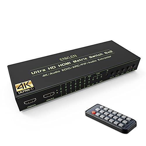 enklen matriz hdmi switch 6x 24K 3d Soporta PIP Arc EDID con SPDIF/3.5mm Audio Salida, IR Mando a distancia y instrucciones para DVD Players, a/v Receptor, Set Top Box, etc.
