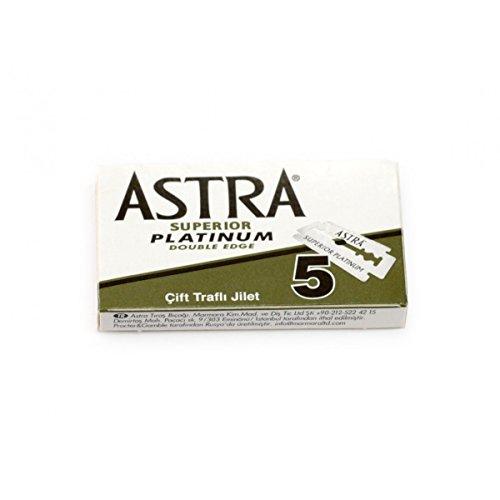 Rusty Bob - Astra Rasierklingen-platinum-classic für den klassischen Rasierhobel, Nassrasierer [geschlossener Kamm] - 5 Rasierklingen Im Set