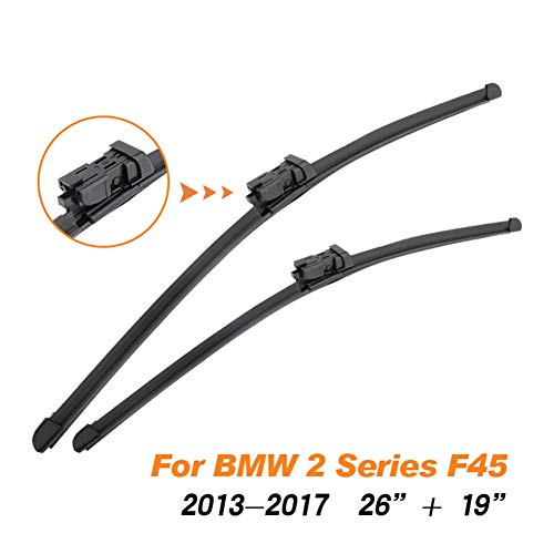 WOLDce Car Windscreen Wiper Blades Rubber,Fit Push Button/Pinch Tab Arm,for BMW 2 Series F22 F23 F45 F46 2013 2014 2015 2016 2017