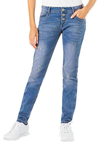 Sublevel Damen Skinny Jeans Hose mit Ziernieten im Used-Look Blue S