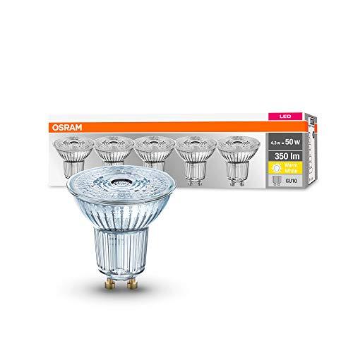 Osram LED Base PAR16 Reflektorlampe, Sockel: GU10, Warm White, 2700 K, 4.3 W, Ersatz für 50-W