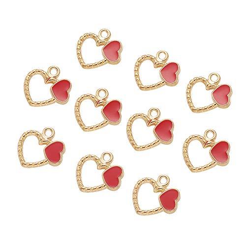 Beadthoven - 10 abalorios de corazón rojo esmaltados chapados en oro con forma de corazón para hacer joyas, pendientes, pulseras, recuerdos de boda