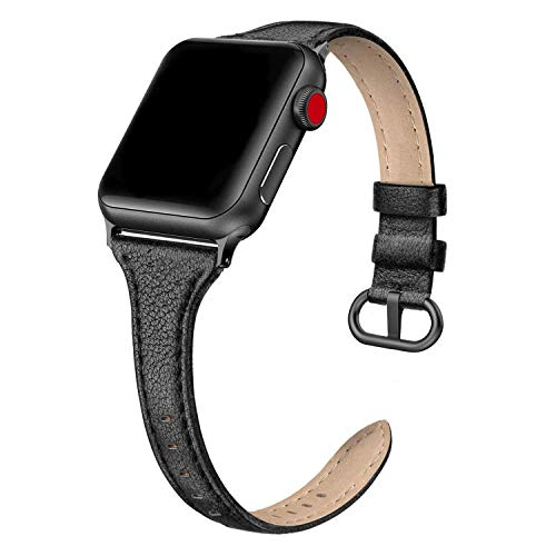 SWEES Leather Band Compatible for iWatch 38mm 40mm, Slim Thin Dressy Elegant Genuine Leather Strap Compatible for iWatch Series 6, 5, 4, 3, 2, 1, SE, Sport & Edition Women, Lichee Black