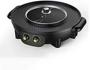 YAYY Barbecue Hot Pot monopièce Double Pot Cuisinière électrique Barbecue électrique Plaque de Cuisson électrique Hot Pot électrique Barbecue électrique (Couleur: Or) -Noir (Mise à Niveau)