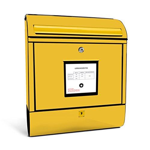 Burgwächter 825S Briefkasten Scandic, 825 S Gelbe Post,Gr.460x380x125mm, Zeitungsbox AUSF.verzinkt beschichtet, Öffnungsstopp