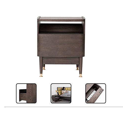 Review LC_Kwn Bedside Table, Modern Solid Wood Bedroom Multifunctional Storage Cabinet Bedside Stora...