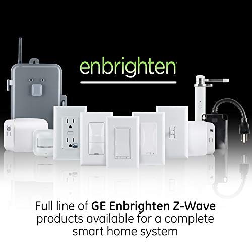 GE Enbrighten Z-Wave Plus Smart Light Switch with QuickFit and SimpleWire, 3-Way Ready, Works with Alexa, Google Assistant, ZWave Hub Required, Repeater/Range Extender, Toggle, 46202