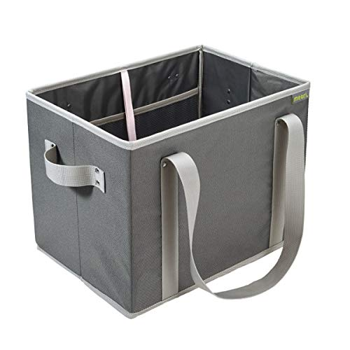 Faltbarer Einkaufskorb Granite Grey 37x26x28cm Home Collection stabil abwischbar Polyester Flaschenträger Kofferraumbox Verstauen Transport geruchsneutral