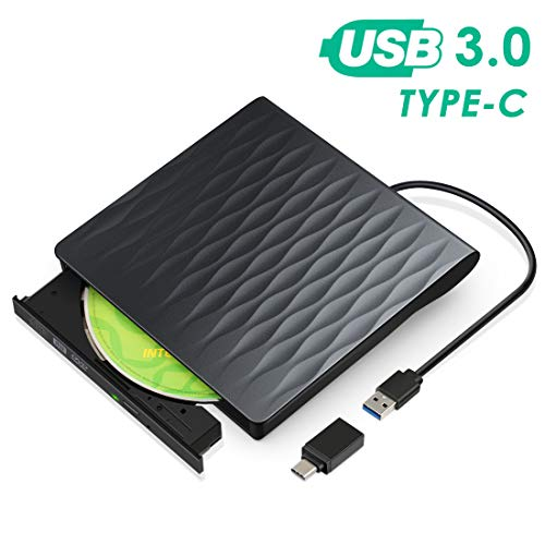 Externes DVD/CD Laufwerk,USB 3.0 Type-C Portable CD/DVD +/-RW Drive Slim DVD/CD ROM Rewriter Burner High Speed Data Transfer Kompatibel DVD Drive