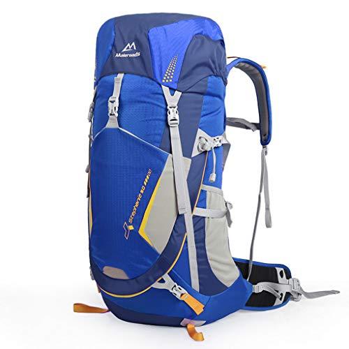 WGKUMMQN Bergbeklimmen Rugzak, grote capaciteit, nylon, waterdicht, ademend, krasbestendig, camping, wandelen, tas, voor mannen en vrouwen, outdoor, multifunctionele sporttas 70L blauw