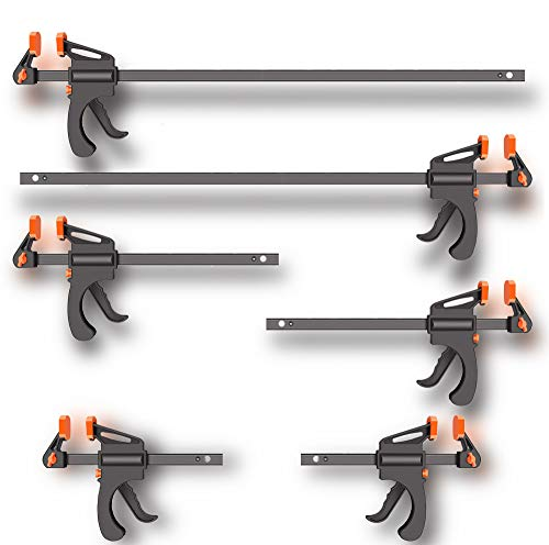 6 PCS Letinaner 2 pack 12-inch+2 pack 24-inch+2 pack 6-inch Quick Grip Clamps set, Bar Clamp for woodworking, One-Handed woodworking tools and accessories, f Clamp/Spreader