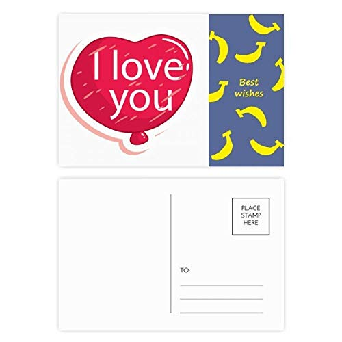 DIYthinker Valentijnsdag Roze I Love You Balloon Banaan Postkaart Set Thanks Card Mailing Side 20 stks 5.7 inch x 3.8 inch Multi kleuren