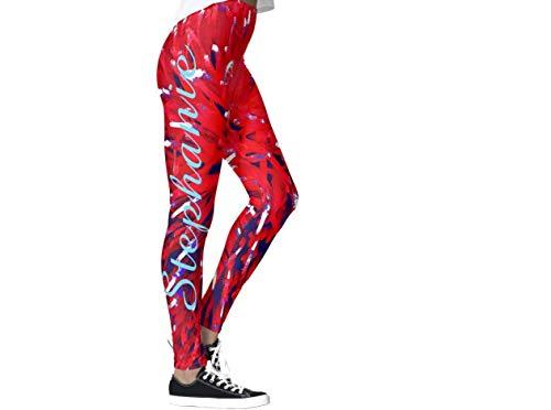 DIYCCY Pantaloni da yoga rosso bianco blu astratto leggings per donne a vita alta multicolore L