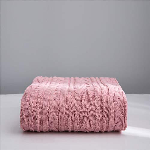 Literie Throw en peluche en microfibre Tissu léger et doux Réchauffez Couverture Canapé Canapé,Rose,130x160cm