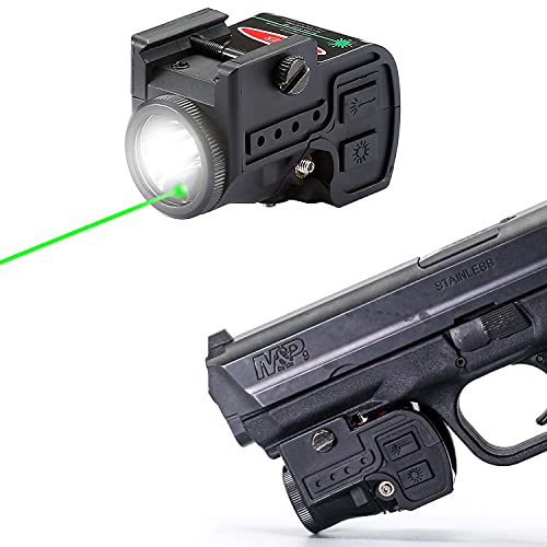 Lasercross 2-in-1 Tactical Laser Sight Flashlight Combo,Magnetic Charging Rechargeable,Strobe Function,Bright Green Laser Light Gun Sight for Pistol,Handguns,Shotguns with Standard Picatinny Rail