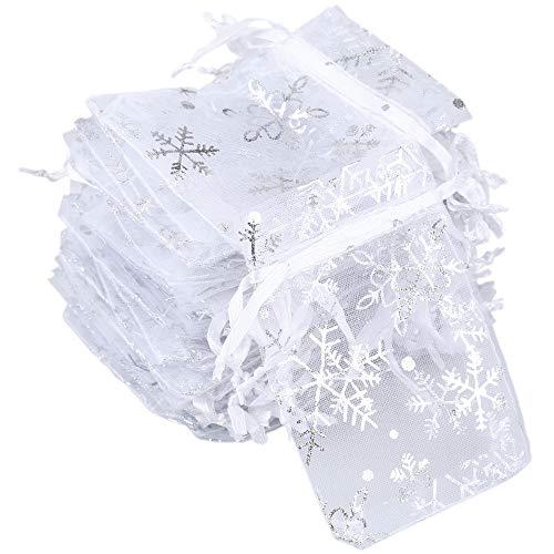 100pcs Bolsas de Organza de Regalo Bolsitas de Organza 7x9cm para Boda Favores, Joyas y Dulces (Blanco Snowflake)