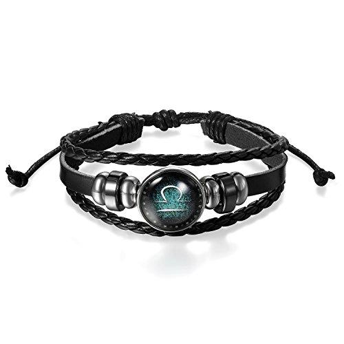JewelryWe sieraden heren dames armband, retro 12 constellatie sterrenbeeld dierenriem weegschaal kralen te maken gevlochten punk lederen armband manchet armband, zwart zilver