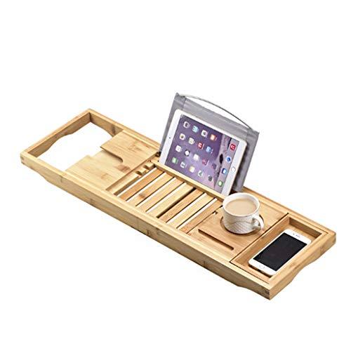 Shelf Plateau De Bain en Bois Baignoire Caddy avec Verre à Vin, Tablette/Livre, Support pour Smartphone Length Longueur Réglable De 70 à 105 Cm