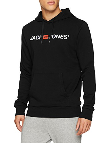 JACK & JONES Jjecorp Logo Sweat Hood Noos Cappuccio, Nero (Black Detail:Reg Fit), Large Uomo