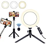 8' Selfie Ring Light with Selfie Stick Tripod for Live Stream/Makeup, Saveyour Mini LED Camera Selfie Ringlight for YouTube Video/Photography Compatible with iPhone Xs Max XR Android