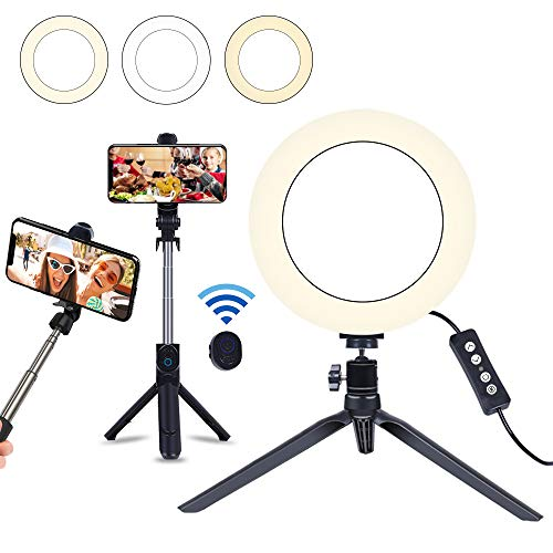 8 Selfie Ring Light with Selfie Stick Tripod for Live Stream/Makeup, Saveyour Mini LED Camera Selfie Ringlight for YouTube Video/Photography Compatible with iPhone Xs Max XR Android