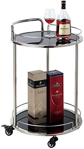 Estantería de vino Ruedas de baño Carrera de la cocina / de metal Tenedor de vino templado de vinos de vino / porta de almacenamiento / de restaurante Home Restaurant Island Sirviendo carro con ruedas