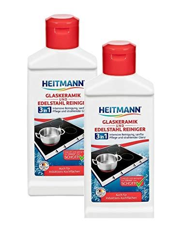 Heitmann Glaskeramik Edelstahl Reiniger, Intensivreiniger für Kochfelder, Edelstahl, Chrom, Messing, 2×250ml