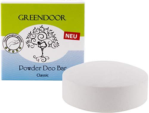 Greendoor Powder Deo Bar classic 60g, festes Deo Stück, vegan, ohne Plastik, Deodorant ohne Aluminium, sanfter unisex Duft für Frauen und Männer, natürlich mit Bio Babassu, schmilzt nicht