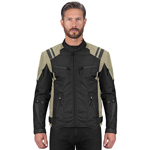 Viking Cycle Ironborn Protective Textile Motorcycle Jacket for Men - Waterproof, Breathable, CE Approved Armor for Bikers (Khaki, Medium)