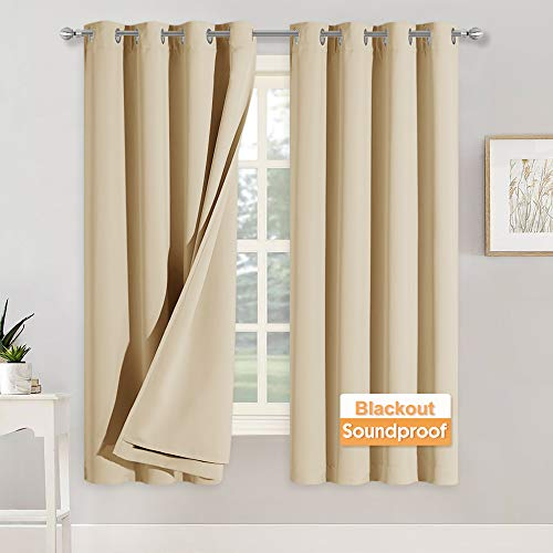 RYB HOME Soundproof Curtains for Bedroom - Blackout Noise Reducing Curains 3 Layers Inside Detachable Felt Liner Acoustic Drapes for Living Room, W 52 x L 63, Biscotti Beige, 1 Pair