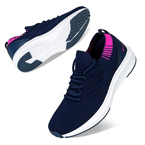 Kyopp Damen Turnschuhe Atmungsaktiv Leichte Laufschuhe Sportschuhe Sneaker für Fitness Gym Outdoor Walkingschuhe Freizeitschuhe(1 Navy Blau 38EU)