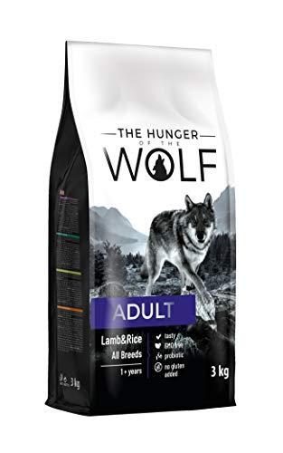 The Hunger of The Wolf Cibo secco per cani adulti, con riso e agnello, per tutte le razze, formula delicata, 3kg
