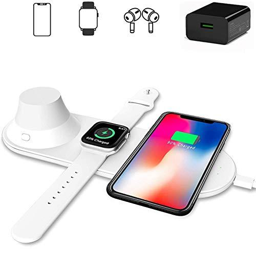 Xflelectronic Cargador inalámbrico 3 en 1, estación de Carga inalámbrica rápida Qi con luz Nocturna, para iPhone 12/12 Pro MAX / 11/11 Pro/XS MAX/XS XR/Apple Watch 6/5/4/3/2 / Galaxy S20 / S10