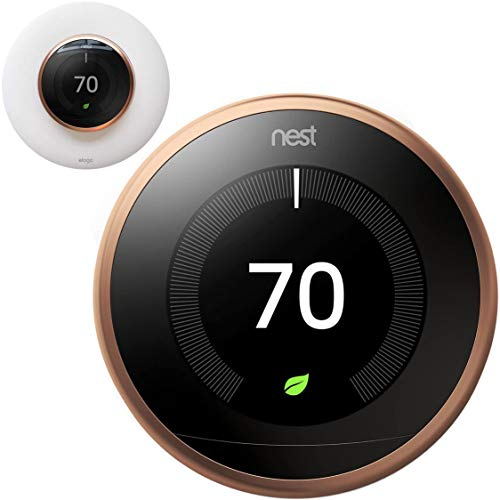 Google Nest Learning Smart Thermostat - 3rd Generation - Copper T3021US Bundle with elago Wall Plate Upgraded Wall Mount Cover Designed for Google Nest Learning Thermostat - Matte White