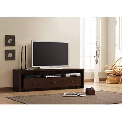 KITKAY Mueble TV de 3 cajones en wengué de 180 cm.