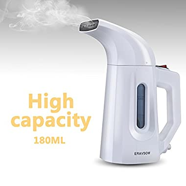 ERAVSOW Garment Steamer For Clothes, 180ml Portable HandHeld Fabric Steamers, Ultrafast Heat-up Powerful Wrinkle Remover With Safety Protection, MINI Steamer For Compact Travel/Home