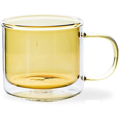 HYJBGGH Koffiemok met glasschildering, hittebestendige koffiemok, dubbelglas, cupthermaling, huishouden, eenvoudige kop, creatieve sap, kop, huishouden