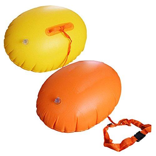 sotoboo Schwimmbad Hilfe aufblasbar Airbags Sicherheit Boje schwimmen Ring Boje für Surfen Schnorcheln Training, aufblasbar Air Life Buoy mit Strap für Erwachsene Kinder Wasser Sport (zufällige Farbe)