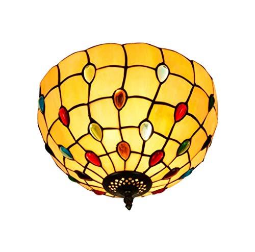 Yjmgrowing Plafonnier Art de rétro Style Tiffany 12 Pouces plafonniers coulissants en Verre teinté Jaune pour l'éclairage de l'entrée du Porche,E27,40W (30 * 22cm)