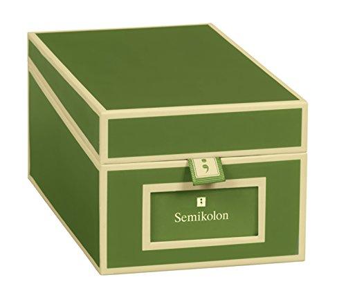 Semikolon (352643) Visitenkarten-Box mit Registern in irish (dunkel-grün) - Bussiness-Card-Box - Alternative zu Visitenkartenmappe, Karteikasten