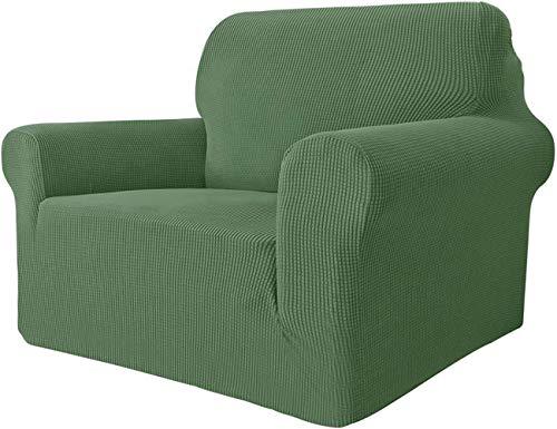Mazu Homee Funda de silla súper elástica para sala de estar, 1 funda universal para sofá con reposabrazos Jacquard spandex cubierta de protección para silla sofá mascota (sofá, gris oscuro)