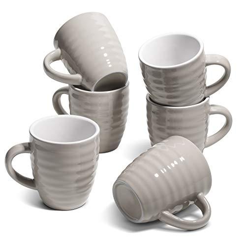Comsaf 6 pezzi Tazze da Caffè in Porcellana, 450ml Tazze Colazione Grande con Manico, Tazza per Microonde e Lavastoviglie, Set di Mug da Caffe per tè, Fiocchi d'avena, Latte, Cereali(Grigio)