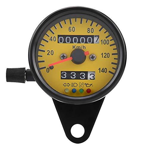 Gorgeri Moto Velocímetro Odómetro - 60mm LED Moto Odómetro Velocímetro Indicador con indicador Negro